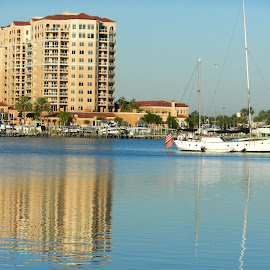 Condo & Boat Reflections by Kathy Rose Willis - City,  Street & Park  Skylines ( water, clearwater beach, condo, reflection, florida, boats, seascape, boat,  )