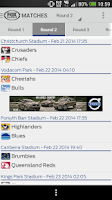 Screenshot of Super Rugby Match Centre