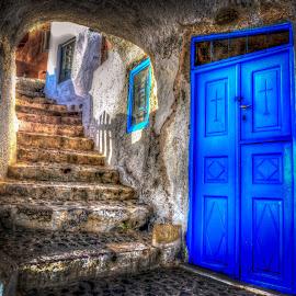 Oia by Murat Besbudak - City,  Street & Park  Street Scenes ( cruisng, greece, door, chapel, oia, aegean, santorini )