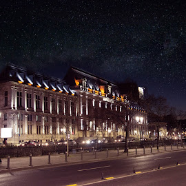 The Palace of Justice by Ingrid Vogel - Buildings & Architecture Public & Historical ( boulevard, lights, building, sky, night photography, stars, historical, architecture, palace )