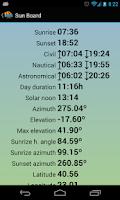 Screenshot of Sun Board Sunrise Sunset