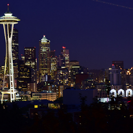Seattle Downtown from my lens  by Faheem Afaq - City,  Street & Park  Skylines ( skyline, space needle, seattle, night, cityscape )