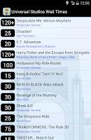 Screenshot of Universal Orlando Wait Times