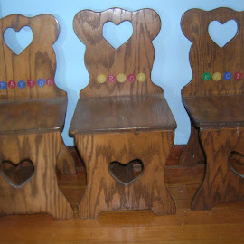 Grandpa Bill made the triplets chairs.... by Linda McCormick - Artistic Objects Furniture ( wood chairs, made with love, hearts to you, 3 chairs, triplets chairs )