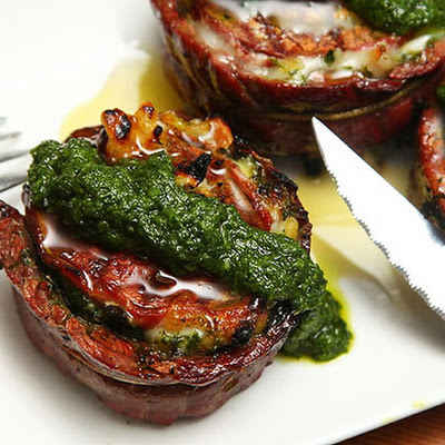 Grilled Stuffed Flank Steak With Pesto, Mozzarella, and Prosciutto