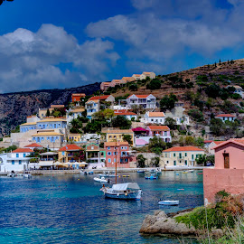 Assos by Stratos Lales - City,  Street & Park  Neighborhoods ( clouds, houses, village, sea, colours )