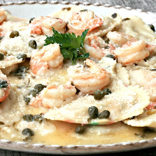 Lobster Ravioli with Shrimp Garlic Caper Sauce #SundaySupper