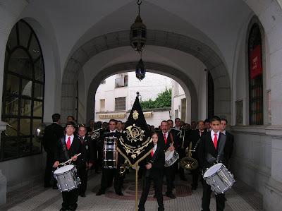 la Banda de Pozoblanco, preparada para comenzar el pasacalle