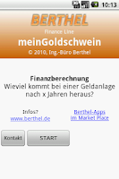 Screenshot of myGoldpiggy financecalculation