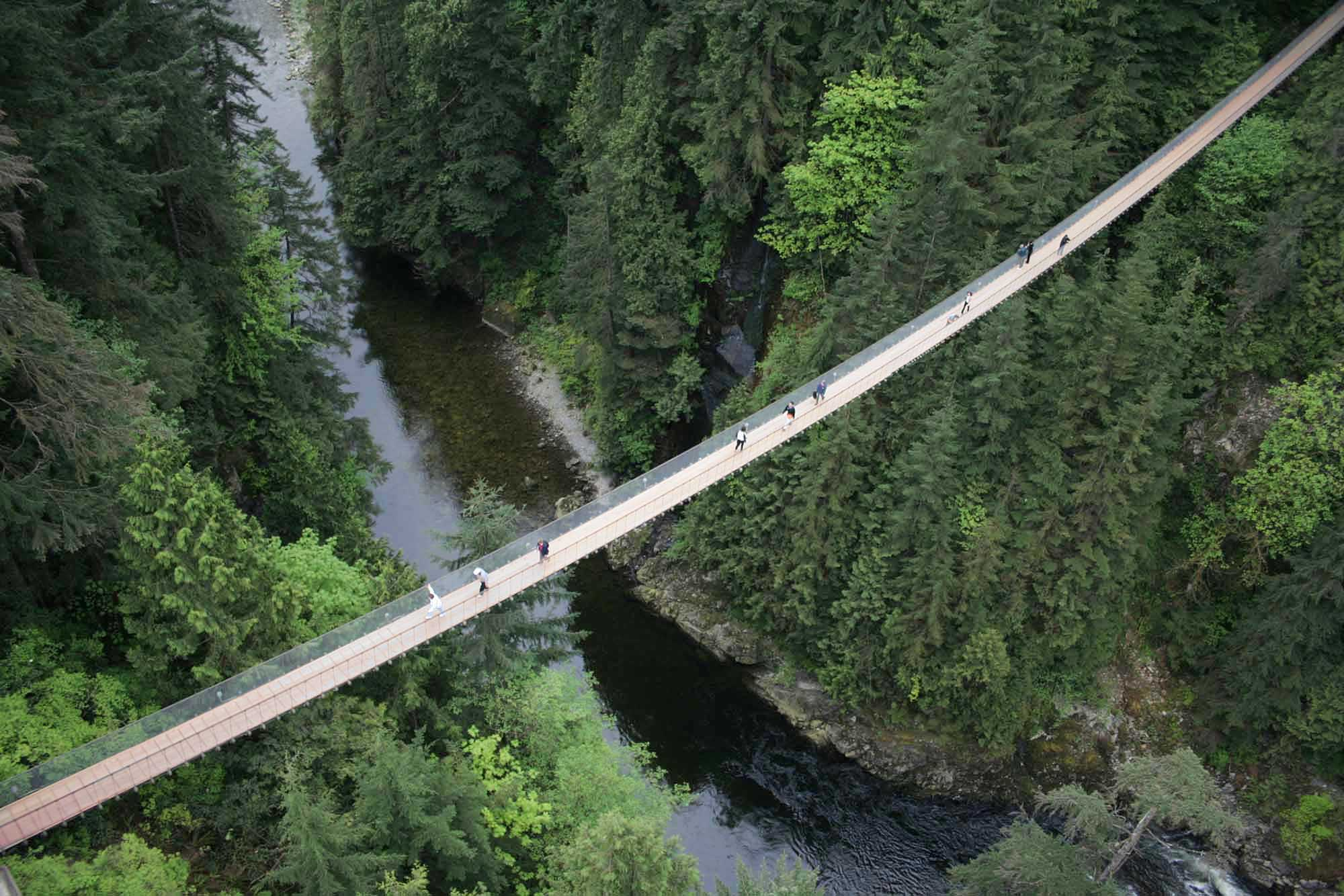 Visitors walk across the Capilano Suspension Bridge above the Capilano River and surrounding rainforest in Vancouver, BC.