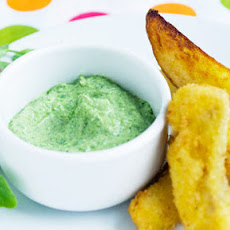 Kids' Fish And Potato Wedges With Pea Shoot Dipping Sauce