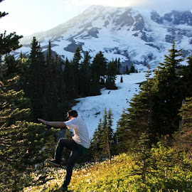 Moutaineer by Micki Clark - Landscapes Mountains & Hills ( hills, micki, clark, mountain, mt rainier, mount rainier, rainier, skip, landscape, people, micki clark, jump, washington, nature, outdoors, micki clark photography )