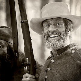 Laughing Soldier by Sharon Isern - People Portraits of Men ( beards, olustee, confederate soldier, military )
