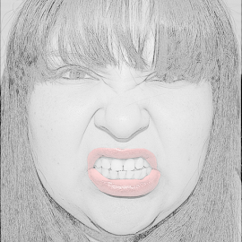 Beretta by Cookie Sisneros-Brown - Digital Art People ( pencil, sketch, red, black and white, angry, Selfie, self shot, portrait, self portrait )