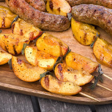 Grilled Chicken Sausages with Peach-Sage Skewers