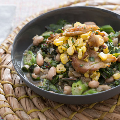Summer Vegetable Stew with Cranberry Beans & Crispy Mushroom Salad