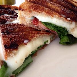 Bacon, Basil, Mozzarella Panini  by George Holt - Food & Drink Meats & Cheeses ( macro, melting, sandwhich, panini, bazil, bacon, mozzarella, melting cheese )
