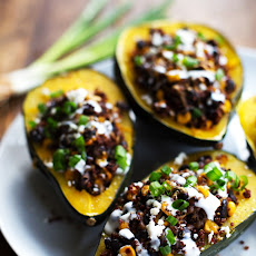 Mexican Roasted Corn and Quinoa Stuffed Squash