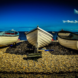 Boats at Selsey beach by Béla Pászti - Landscapes Beaches ( west sussex, water, boats, sea, beach, selsey, landscape )