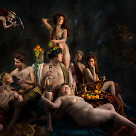 Bacchus, Pan, and Ceres by Derek Galon - Digital Art People ( classical, painterly, drinking, male, fine art, greek gods, mythology, group, paintings, party, nudity,  )