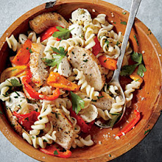 Sautéed Chicken with Roasted Pepper Pasta