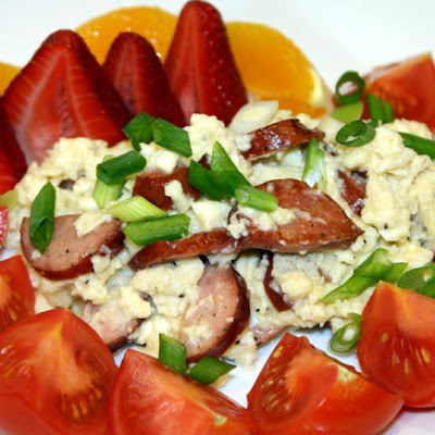 Scrambled Eggs with Sausage and Feta Cheese