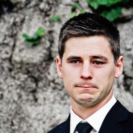 Emotions by Alan Evans - Wedding Groom ( love, sentimental, wedding day, wedding, true love, aj photography, crying, ceremony, groom, wedding ceremony, tears )