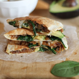 Caramelized Onion, Spinach, and Avocado Quesadillas