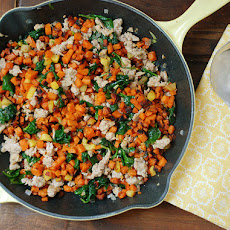Skillet Sweet Potato, Sausage, and Spinach Hash