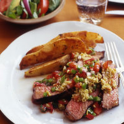 Strip Steaks with Salsa, Roasted Potato Wedges and Hearts of Palm Salad