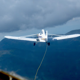 Glider Tow by Kaye Petersen - Transportation Airplanes ( plane, fly, wings, tow plane, vermont, glider,  )