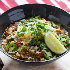 White Bean & Escarole Chili with Sharp Cheddar