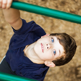 Monkey Bar Blues by Blaine Linton - Babies & Children Children Candids ( child, playground, children, blue eyes, son, son boys, candid, boy, portrait, kid )