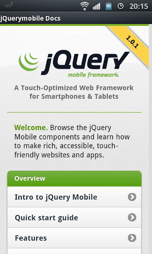 jQuery mobile 1.0.1 Demos Docs