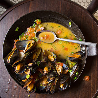 PBR Steamed Mussels with Tasso and Spring Onions