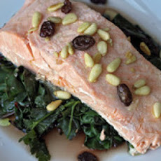 Steamed Salmon with Chard, Pine Nuts, and Raisins