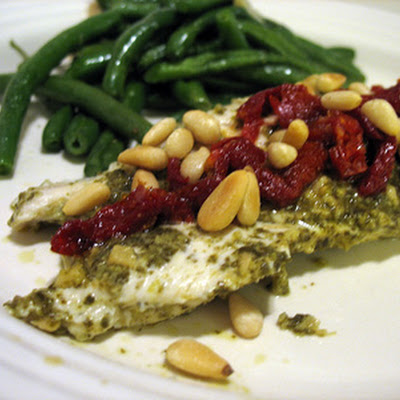 Pesto Chicken with Sun Dried Tomatoes and Pine Nuts