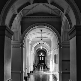 Parliament Building, Victoria, BC by Amar Bal - Buildings & Architecture Public & Historical ( polishedfloor, blackandwhite, parliamentbuilding, b&w, blacknwhite, arch, arches, reflections, victoria, architecture, historic, pillars )