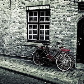 His & Hers by Florin Ihora - City,  Street & Park  Street Scenes ( bikes, door, bruges, bricks, brugge )