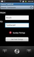 Screenshot of Chennai TrainDroid