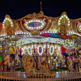 The Same Merry Go Round by Roy Walter - City,  Street & Park  Amusement Parks ( lights, ride, park, amusement park, night, county fair )
