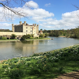 Leeds castle by Tom Holdaway - Instagram & Mobile Instagram ( water, grass, moat, castle, landscape, war, sun )