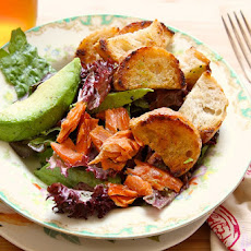 Buttered Crouton Salad with avocado and smoked salmon