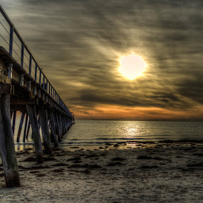 Dark Sunset by Diane Flynn - Landscapes Beaches ( south australia, sand, sunset, adelaide, sea, pier, ocean, beach, jetty )