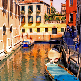 Venice, Italy - Residential Canal by Jane Spencer - Buildings & Architecture Other Exteriors ( residential, boats, neighborhood, venice, walking bridge, canal, italy )