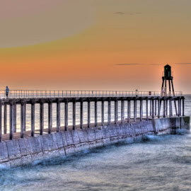 Whitby West Pier by Ian Jukes - Landscapes Waterscapes ( defenses, west pier, harbour, sea, pier, whitby )
