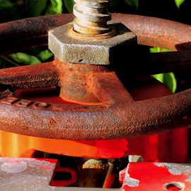 Rusty by Elfie Back - Artistic Objects Industrial Objects ( industrial, wheel, water main, rusty, blue, orange. color )