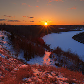 Sunset of River Cage by Chuxiong Miao - Landscapes Sunsets & Sunrises ( sunset, snow, forest, shine, river, Earth, Light, Landscapes, Views )