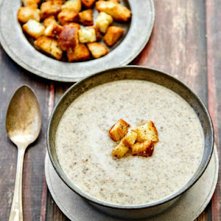 Wild Mushroom Brie Soup with Parmesan Pepper Croutons