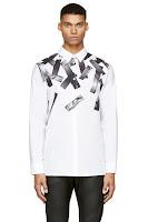 Helmut Lang White Cascading Tape Print Shirt